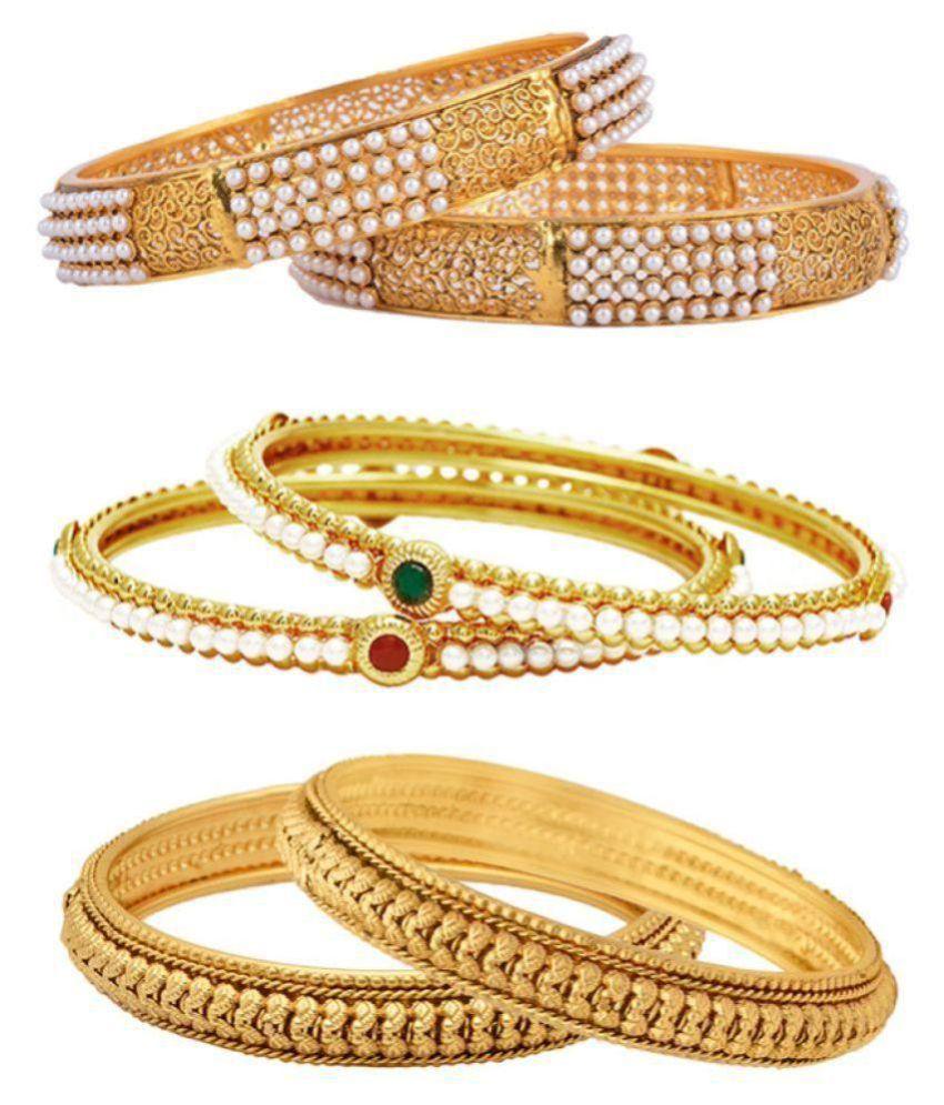 Penny Jewels Studded American Diamond Handmade Funky Designer Unique Bangles Set For Women & Girls (Pair of 6)