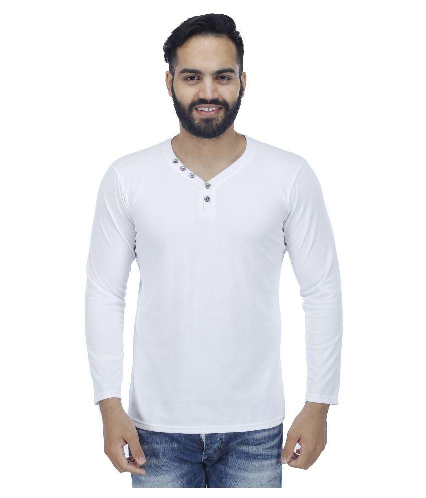 Sanvi Traders White V-Neck T-Shirt