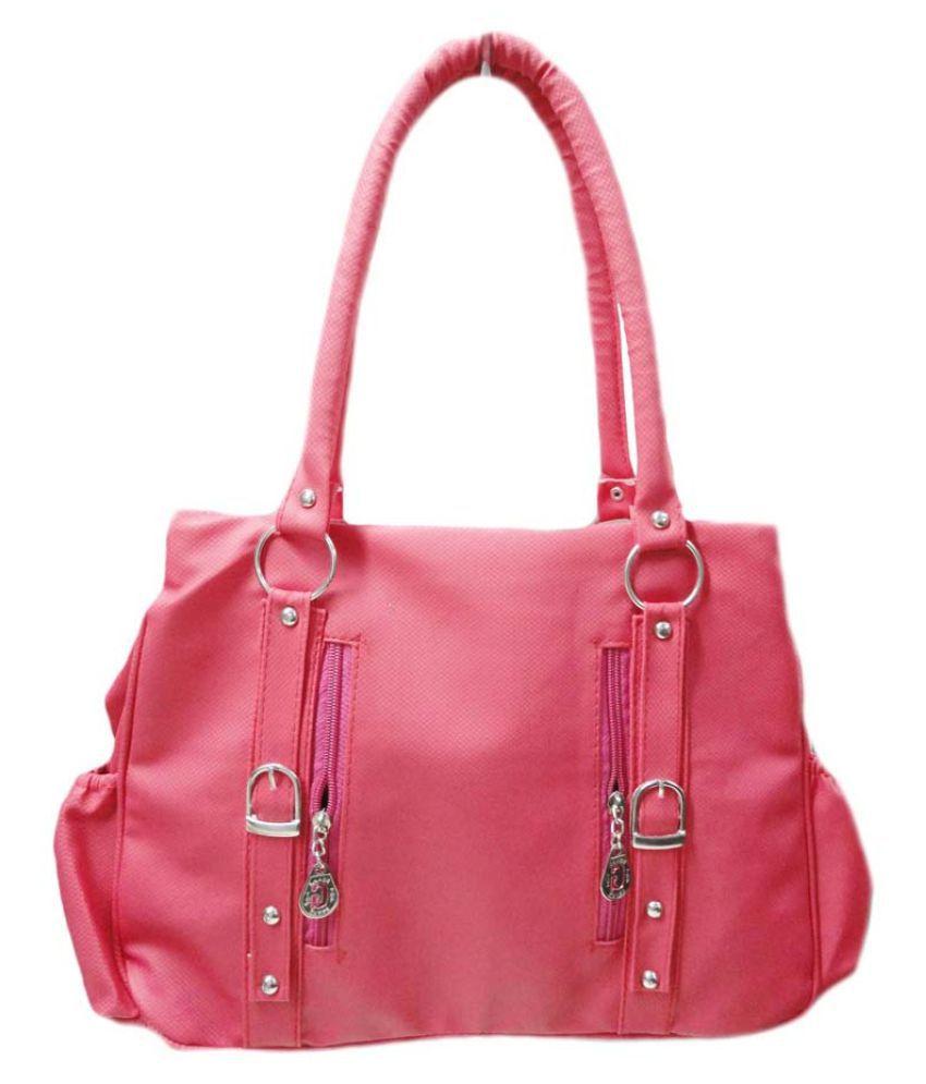 BD Pink Faux Leather Shoulder Bag