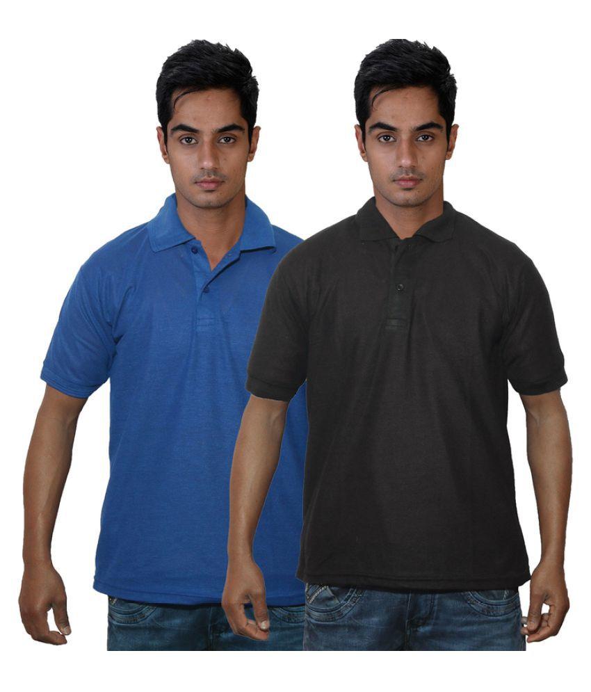 Dfnk Atlanta Blue Cotton Polo T-shirt Pack of 2