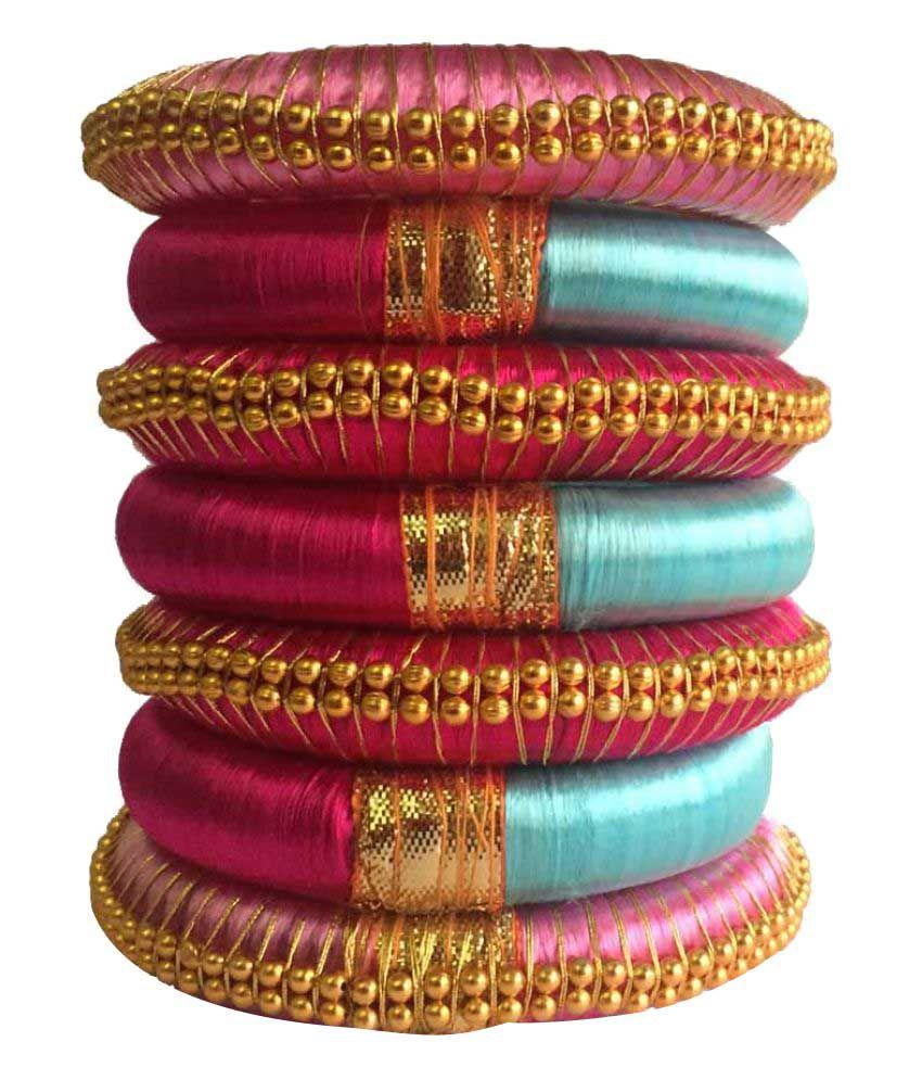 Kuhuk Multi Color Silk Thread Plastic Kada Set