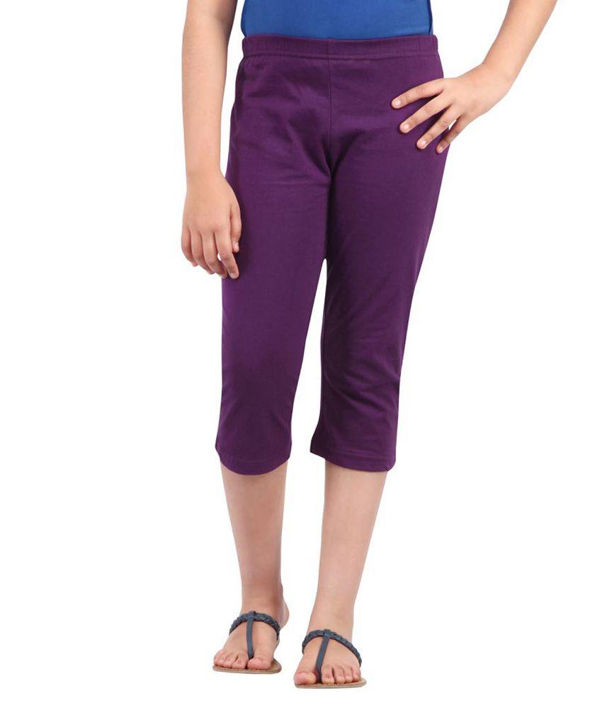 Ctee Purple Solid Girl's Capris