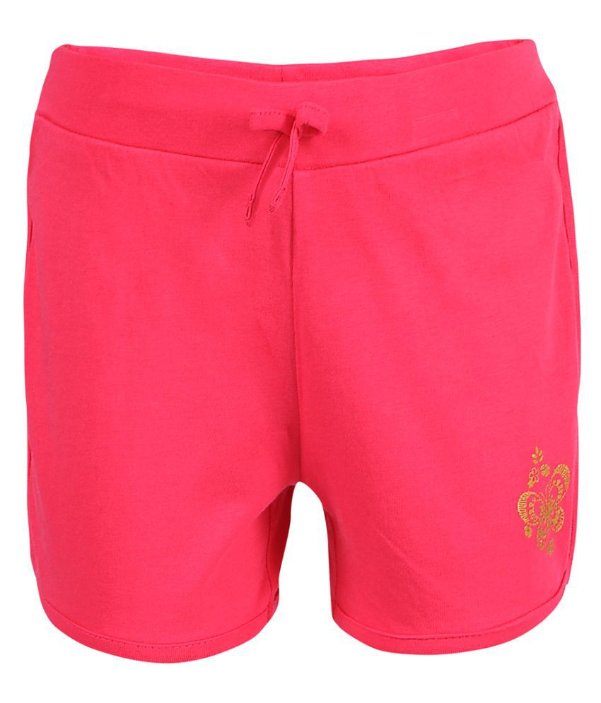 Pink & Blue Pink Solid Girl Shorts