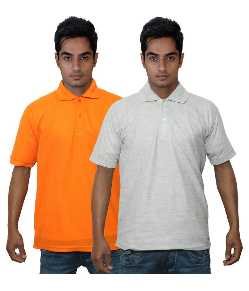 Dfnk Atlanta Orange Cotton Polo T-shirt Pack of 2