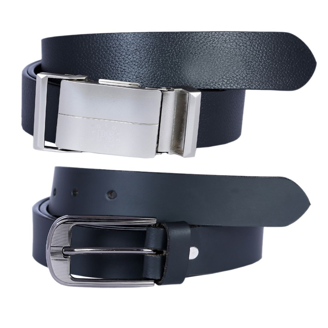 Kritika's World Black Leather Casual Belts - Pack of 2