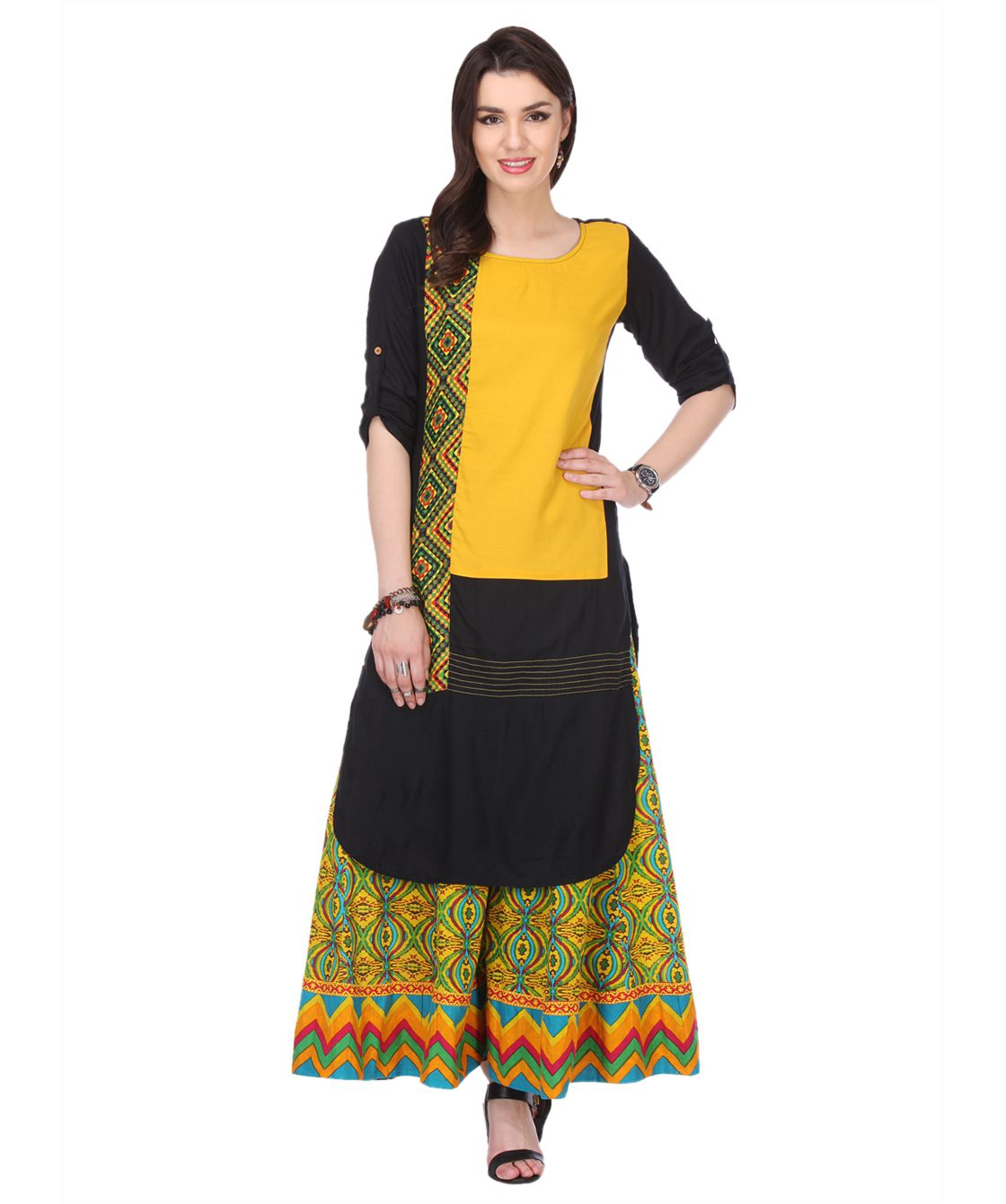 An Ethnic Affair Multicoloured Rayon Straight Stitched Suit