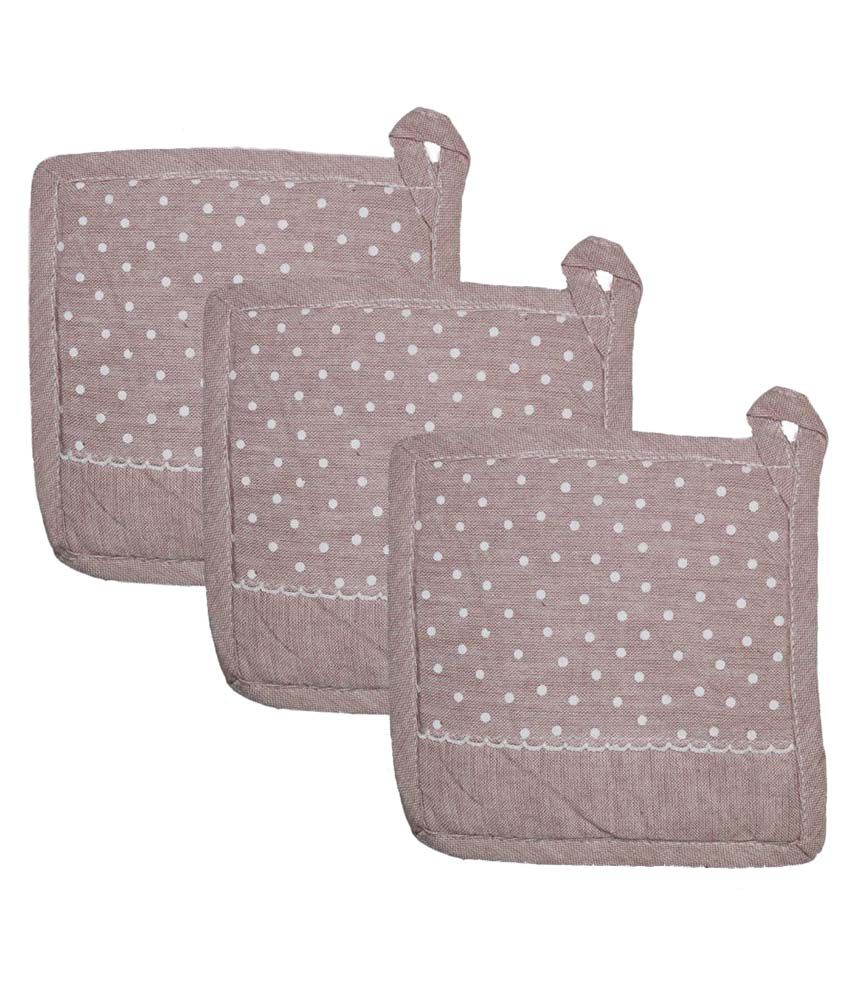 Airwill Pink Cotton Pot Holders - Set of 3