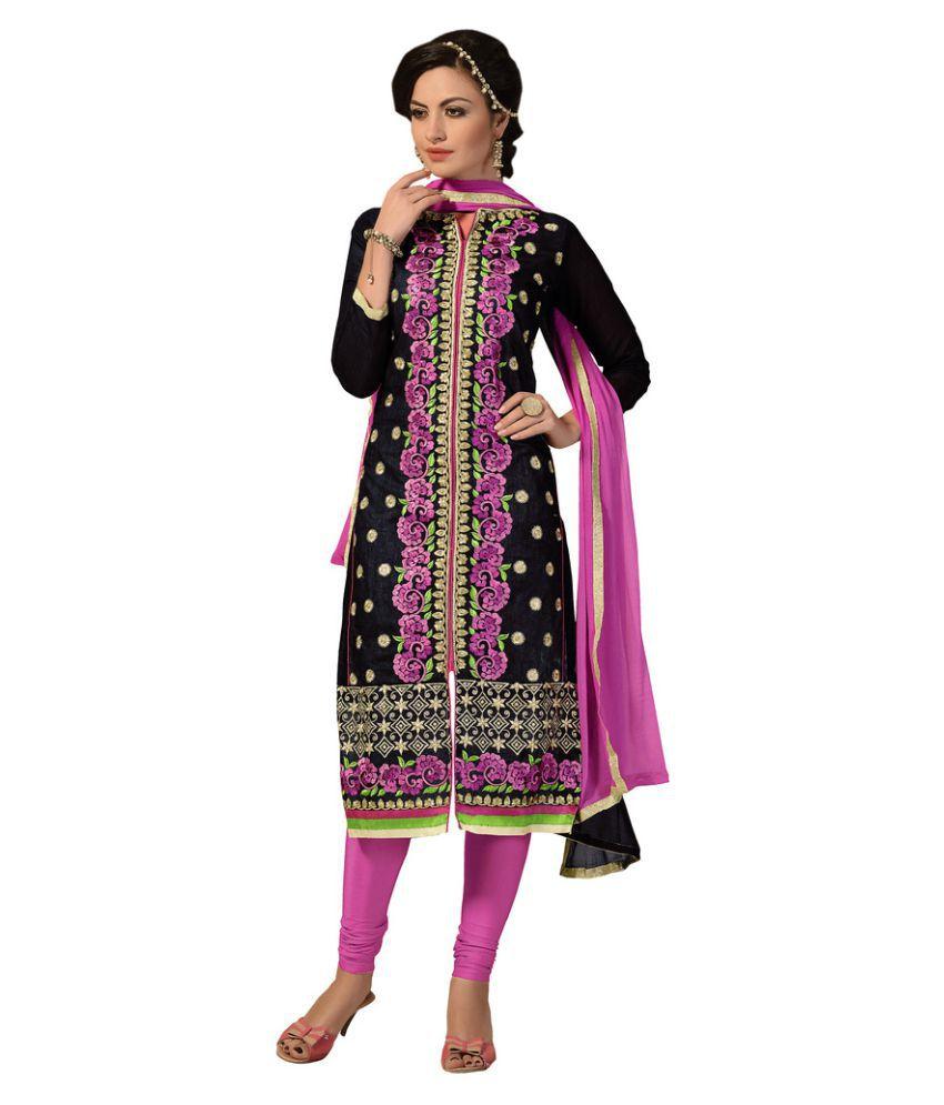 Snapshopee Black Chanderi Dress Material
