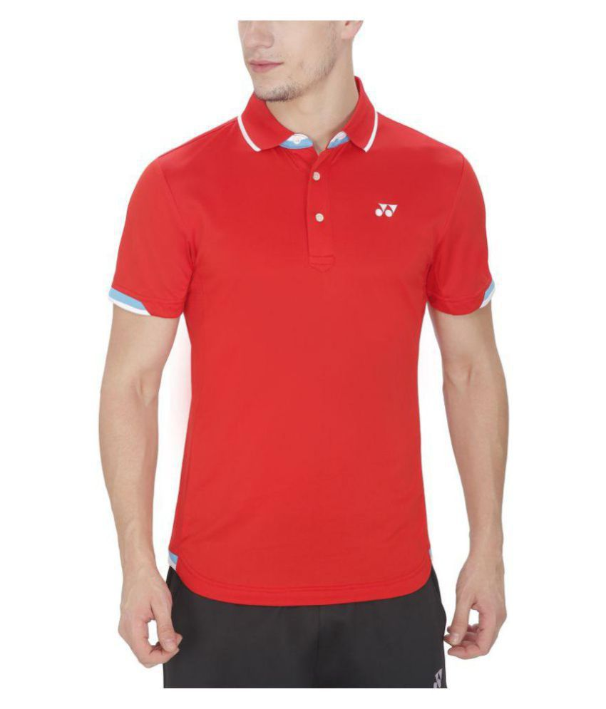 Yonex Red Polyester Polo T-Shirt