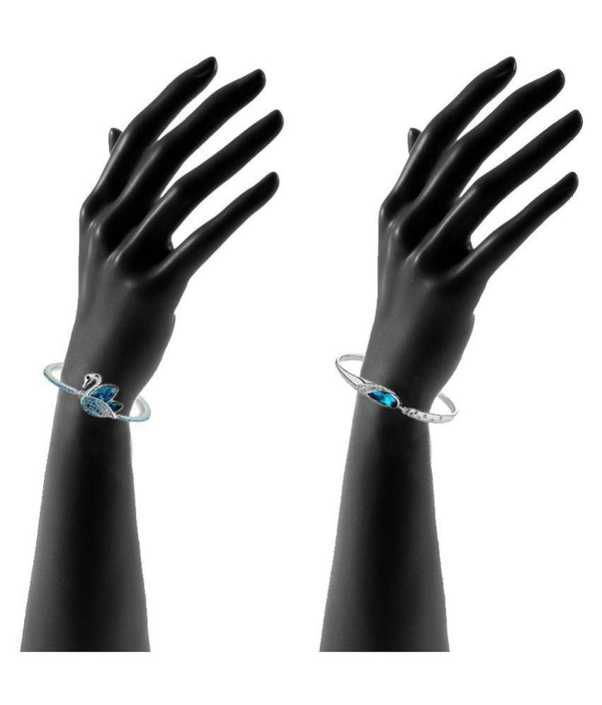 7c01a1fc2c64ff Om Jewells Silver Bracelet - Pack of 2: Buy Om Jewells Silver ...