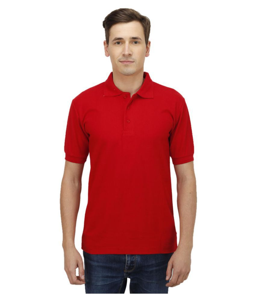 Haltung Red Cotton Polo T-shirt