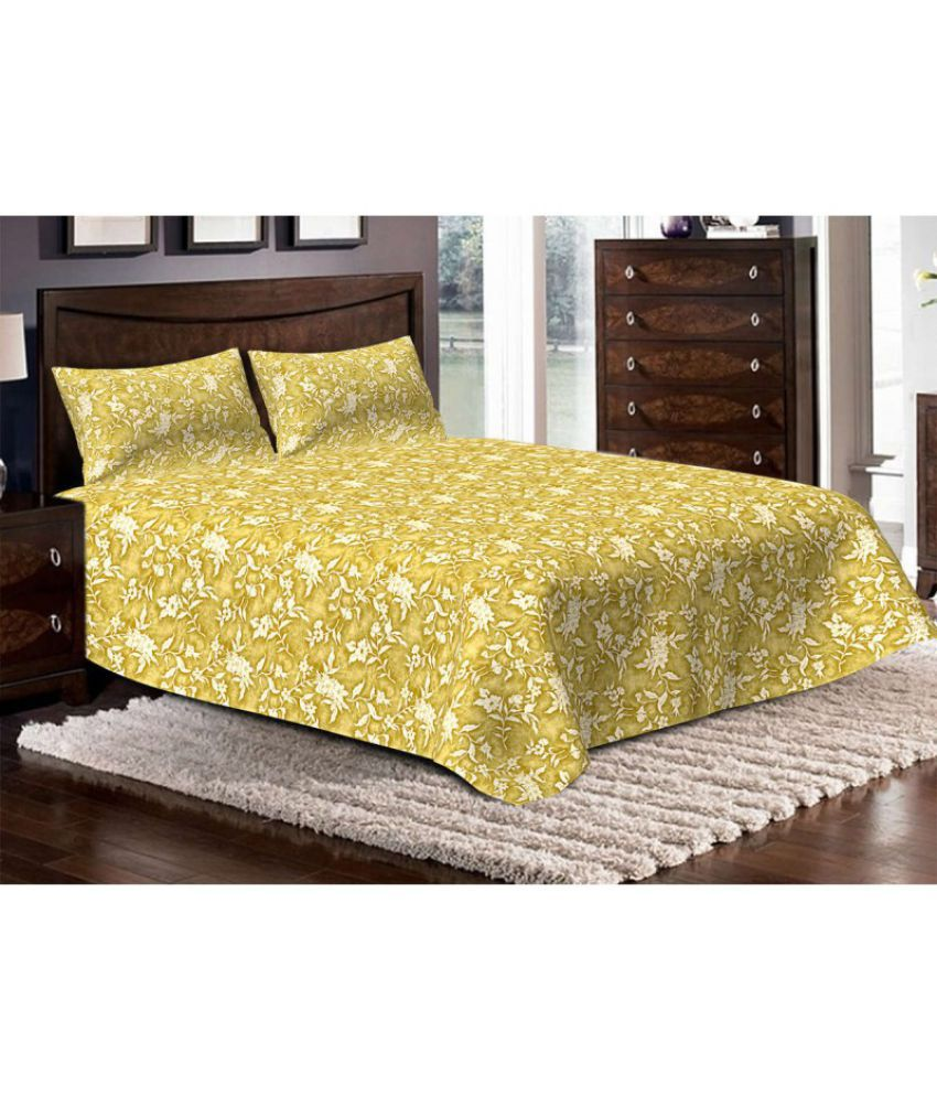 Bella Casa Double Cotton Beige Printed Bed Sheet Online At Low Price In India Snapdeal