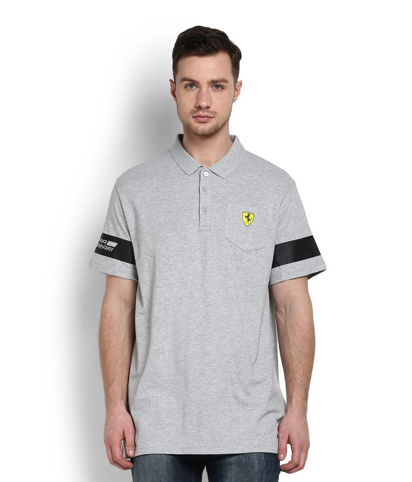 Puma Grey Cotton Polo T-shirt