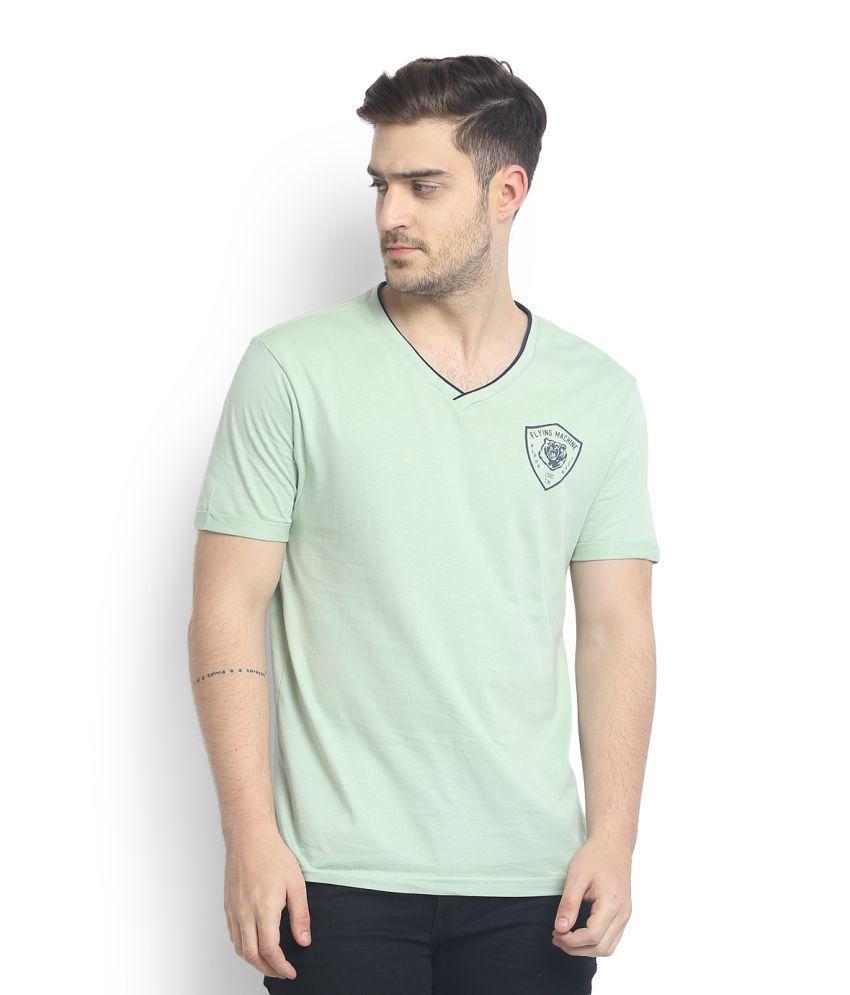Flying Machine Green V-Neck T-Shirt