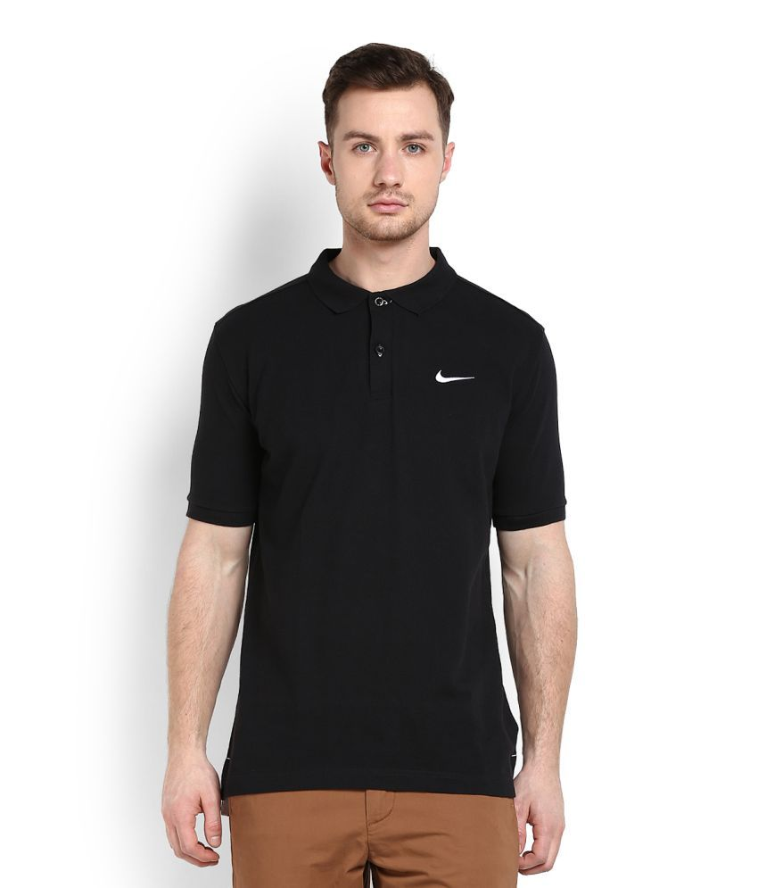 Nike Black Cotton Polo T-shirt