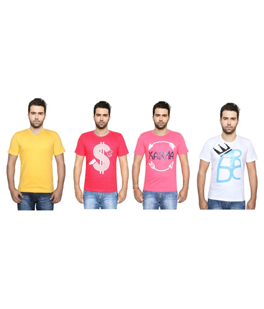 Indiweaves Multi Round T-Shirt Pack of 4