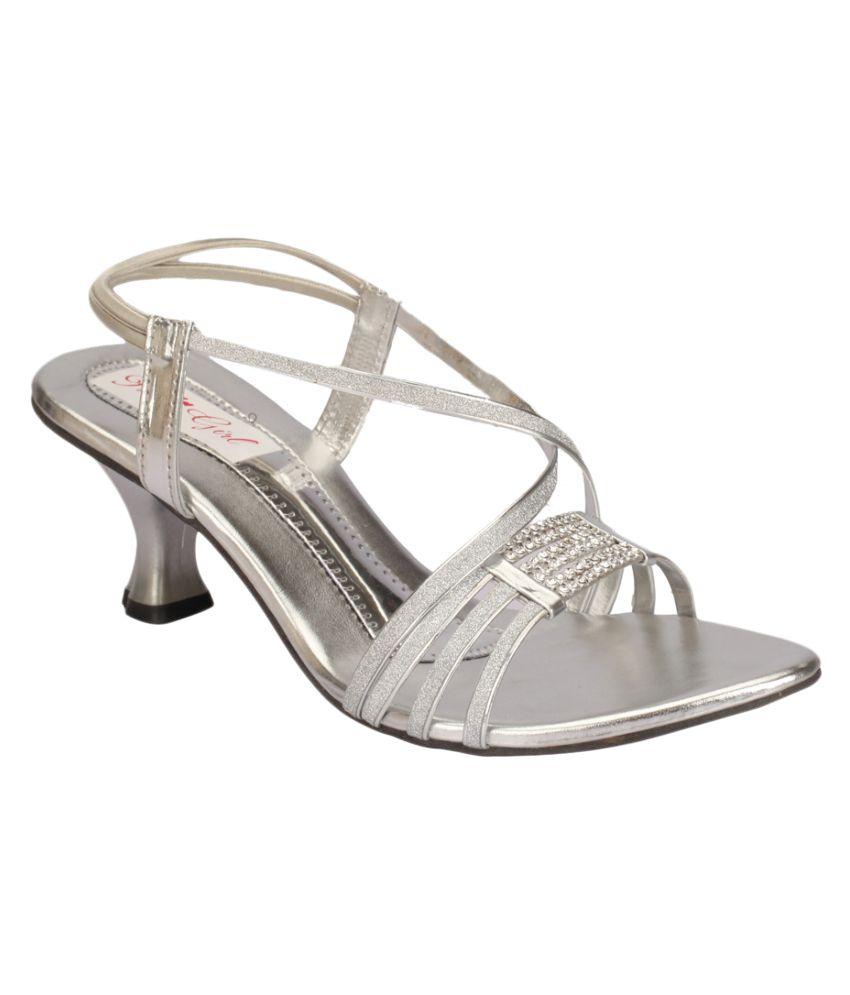 Party Girl Silver Kitten Heels