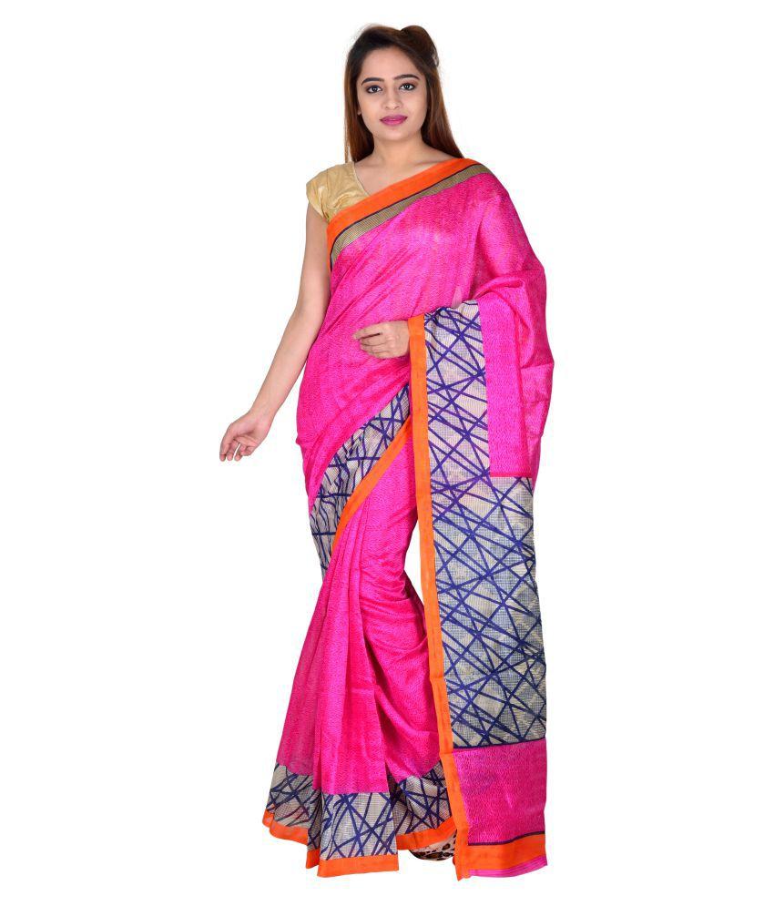 Winza Designer Pink and Grey Bhagalpuri Cotton Saree