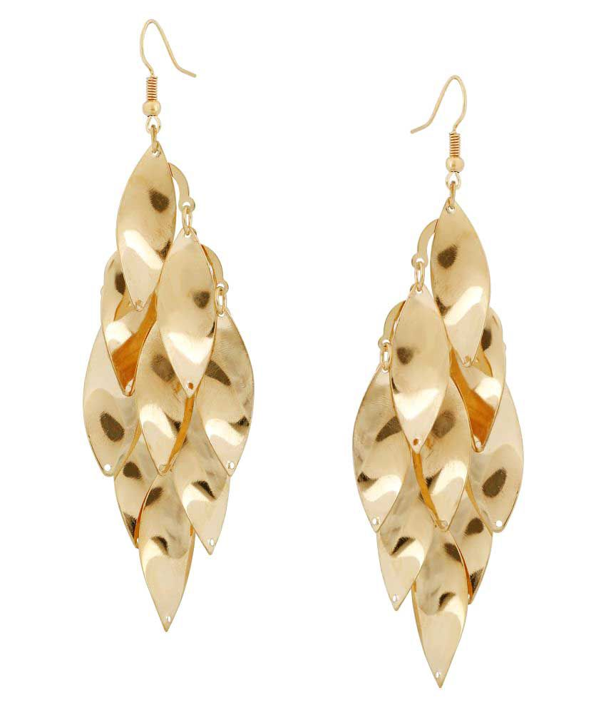 VShine Fashion Jewellery Gold Plated Multi Palin Leaf Hanging Earrings for Women - ERG1041