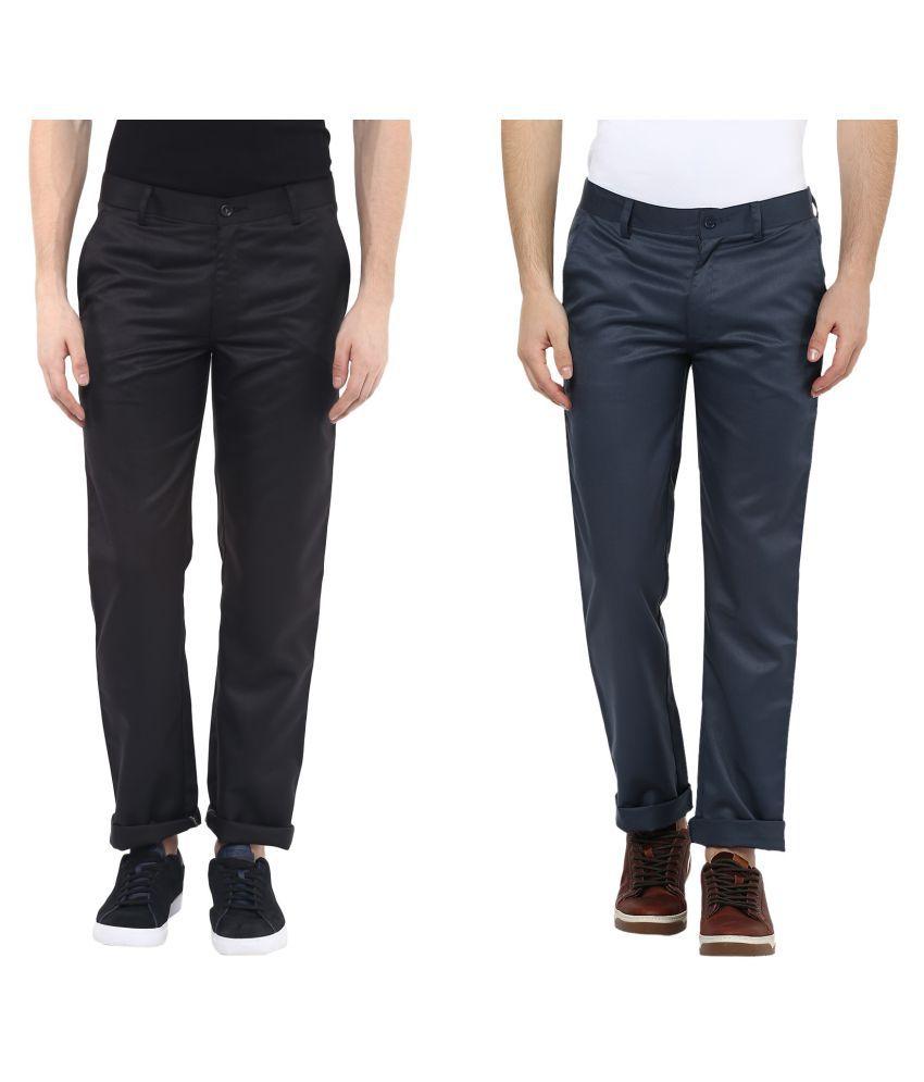 Urbano Fashion Black Slim Flat Trousers