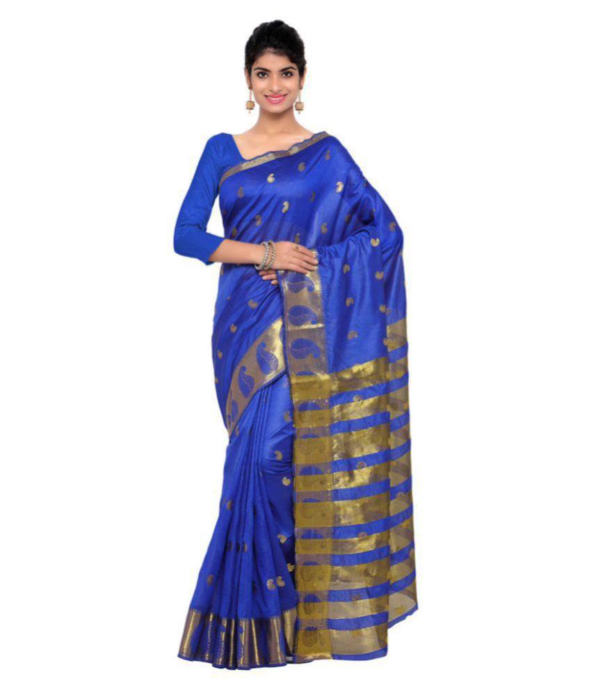 Varkala Silk Sarees Blue Art Silk Saree