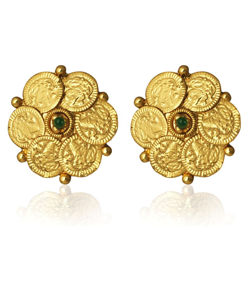 crystal sorrelli in round antique products stud tone earring gold finish