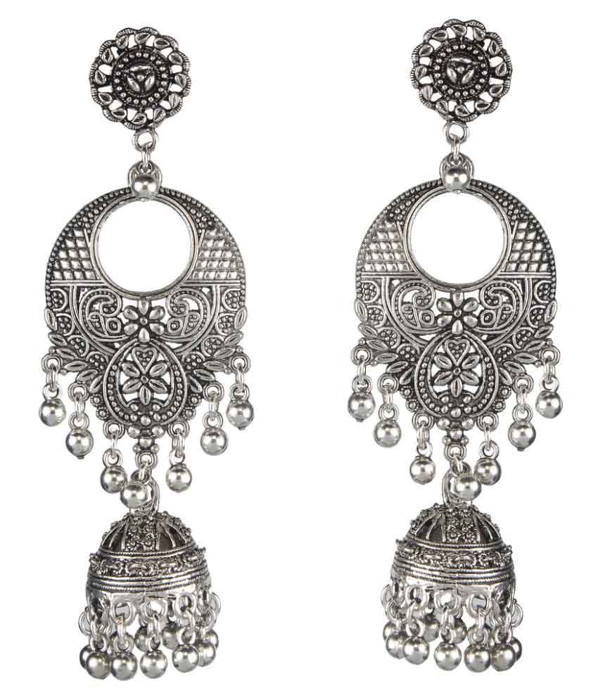 Biyu Silver Plated Oxidized Ethnic Jhumka Jhumki Metal Long Bell Earrings For Women