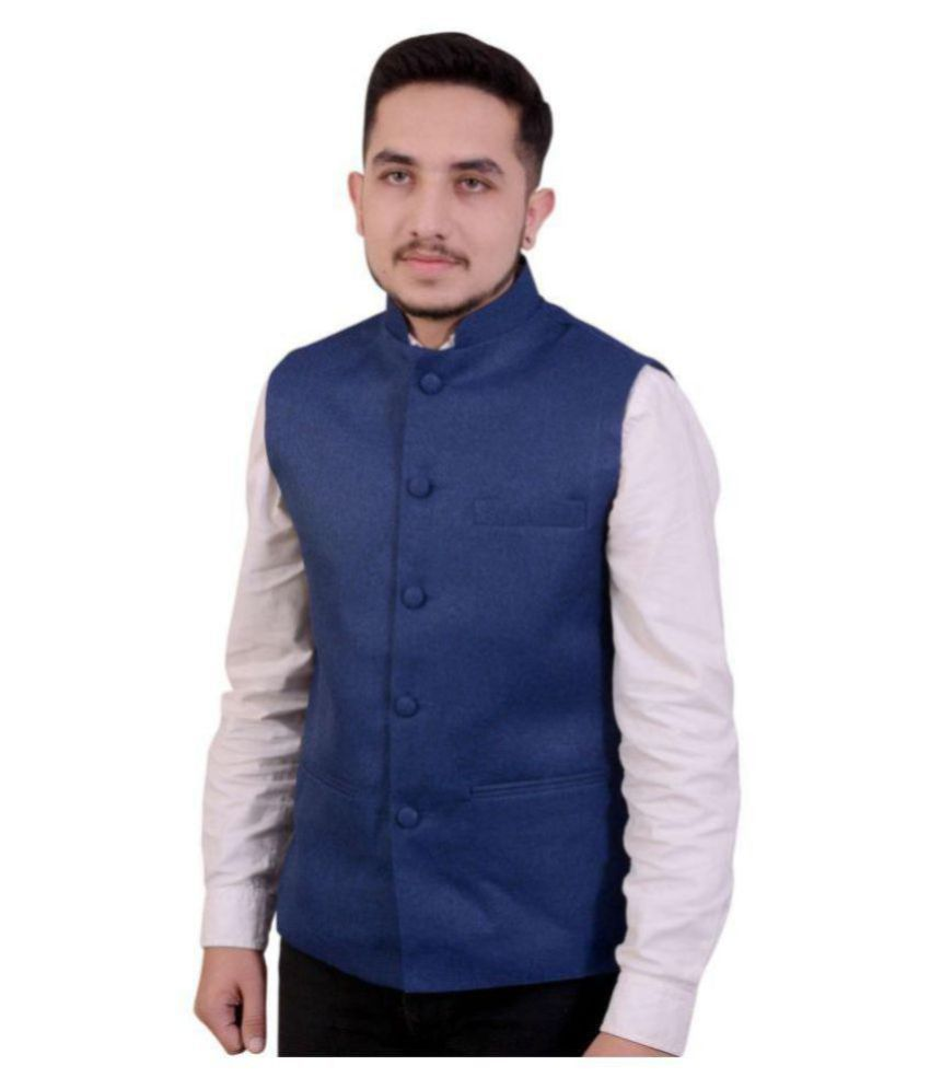 Fashion n Style Blue Solid Formal Waistcoats