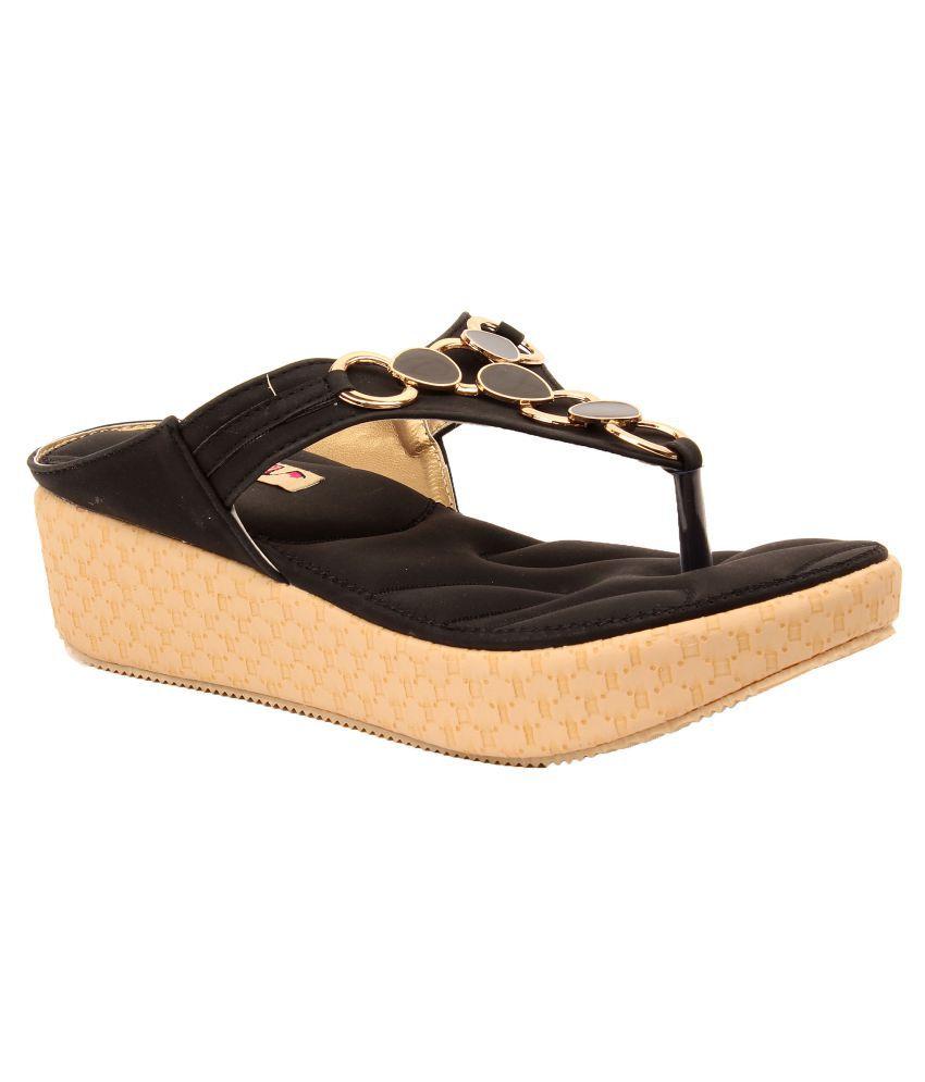 Foot Candy Black Wedges Heels