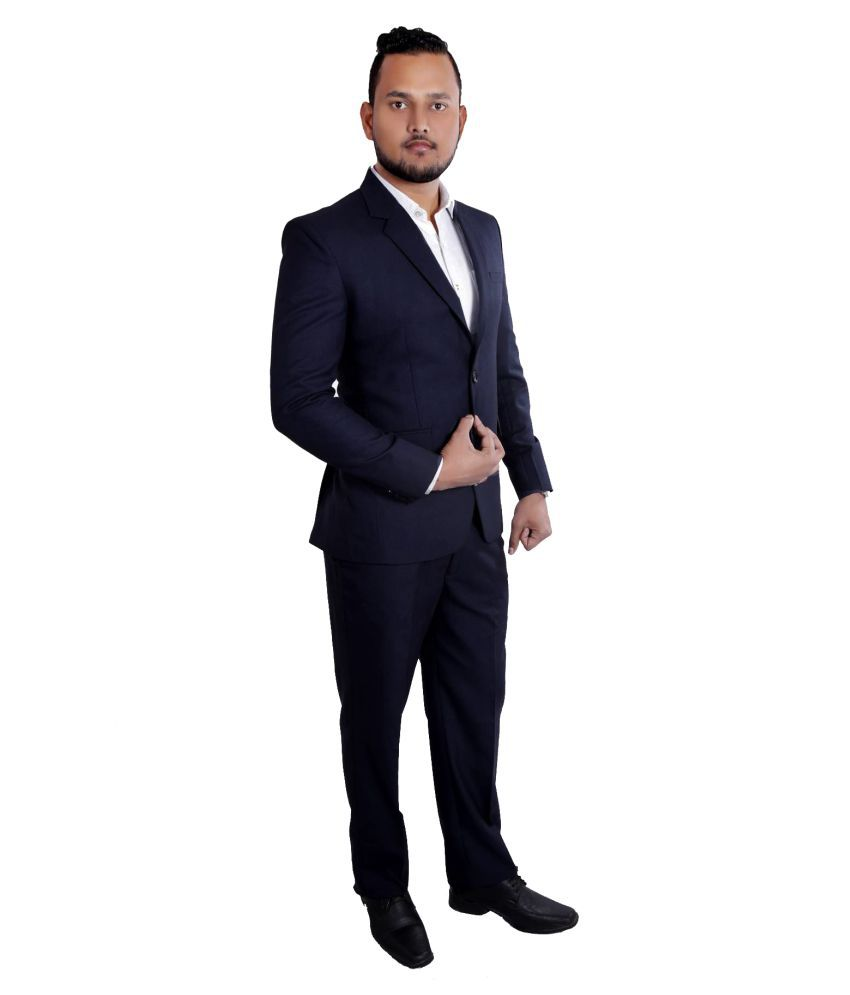 Jitu Enterprises Blue Plain Formal 2 Piece Suits