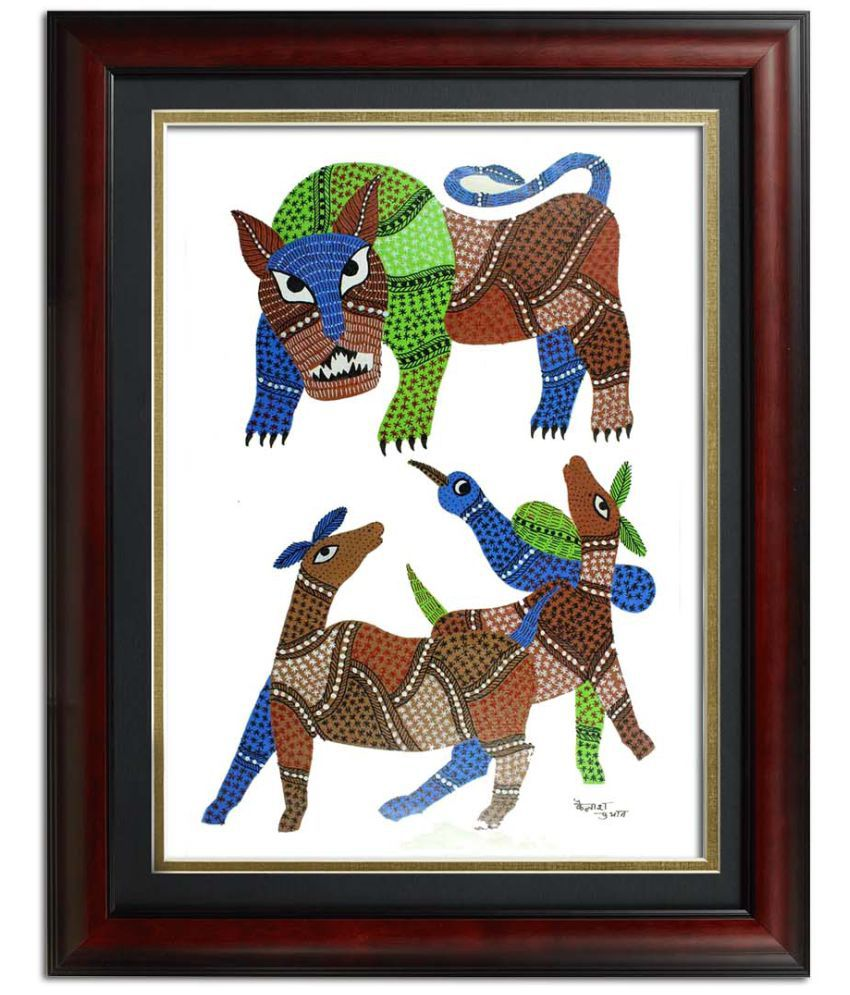 Tiger Attacking Cows Multicolored Gond Painting by India Meets India