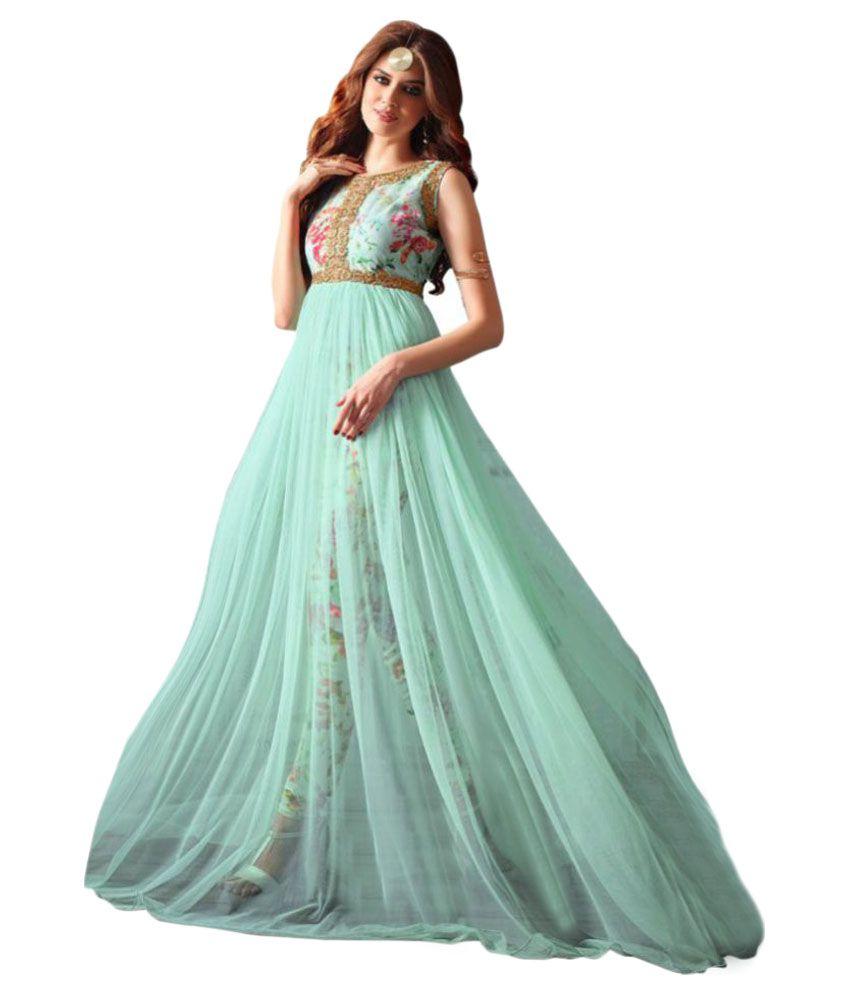 Khantil Turquoise Net Anarkali Gown Semi-Stitched Suit - Buy Khantil ...