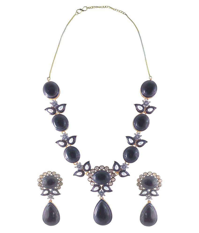 Rejewel Black Alloy Necklaces Set