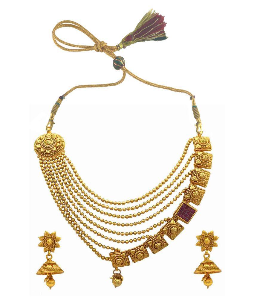 Rejewel Golden Alloy Necklace Set