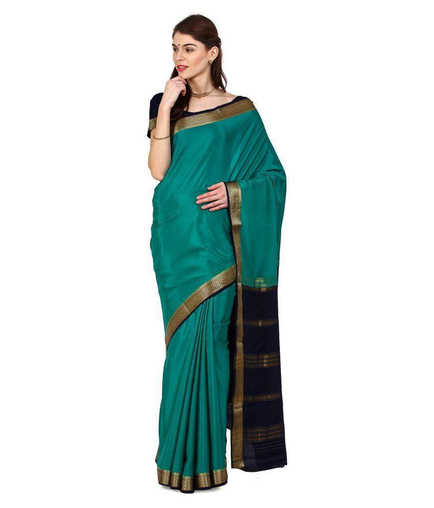 Kaushika Sarees Green Crepe Saree