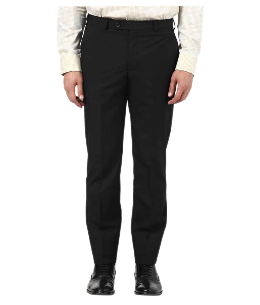 Park Avenue Black Slim Flat Trousers