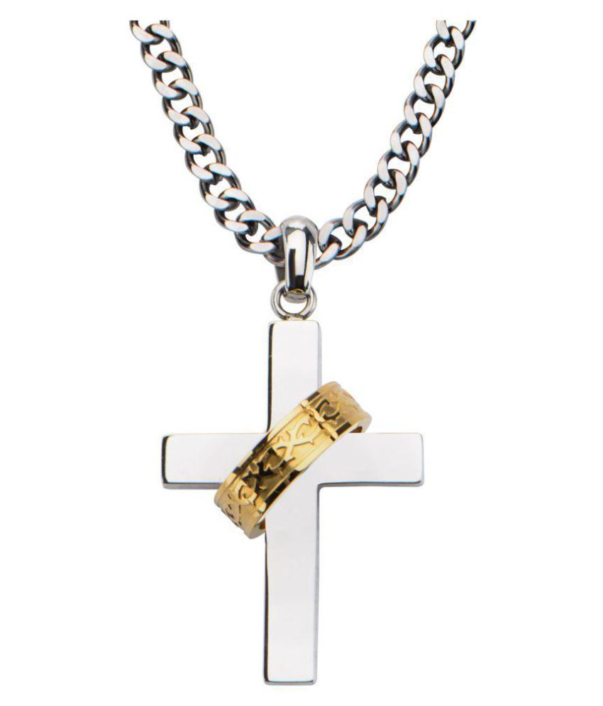 Inox Jewelry Silver Stainless Steel Religious Cross Pendant