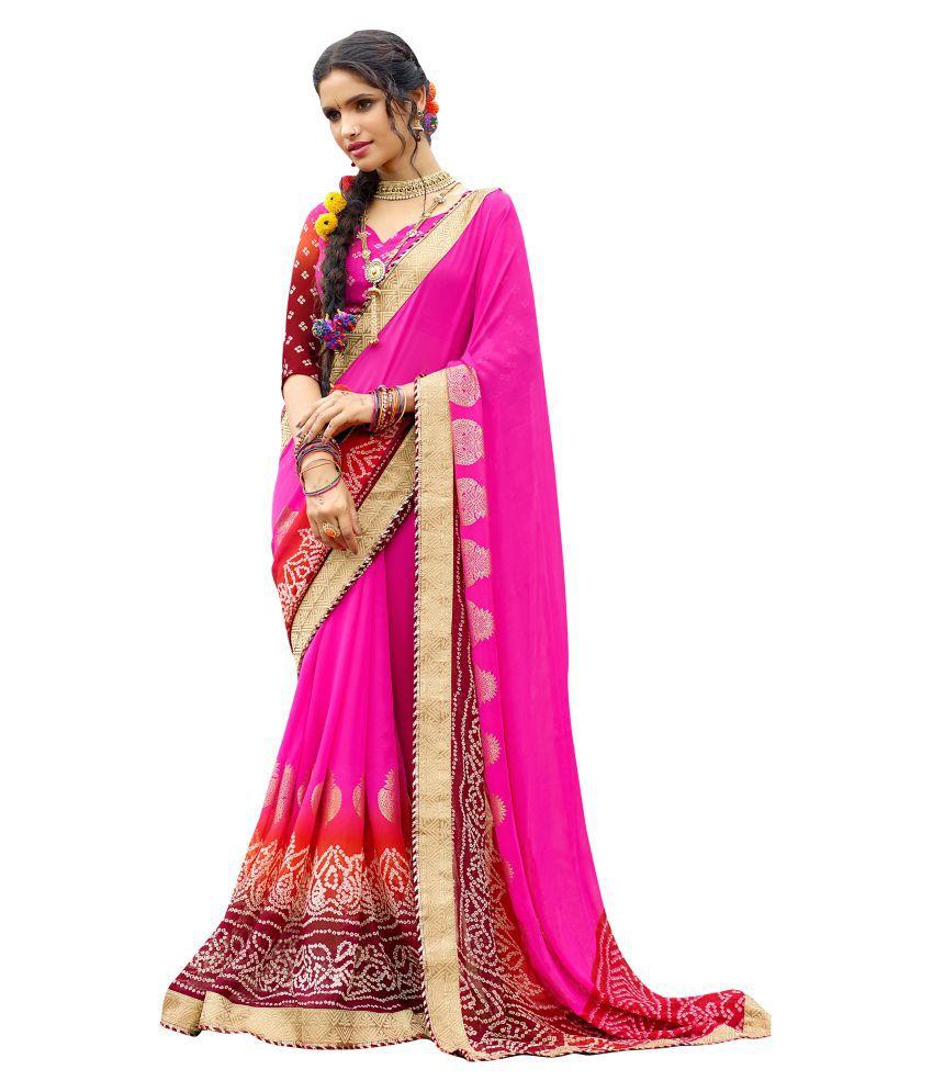 Kalish Pink Georgette Saree