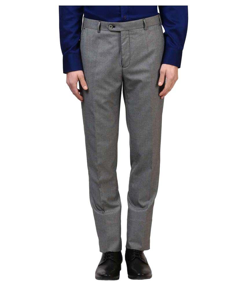 Raymond Grey Slim Flat Trousers