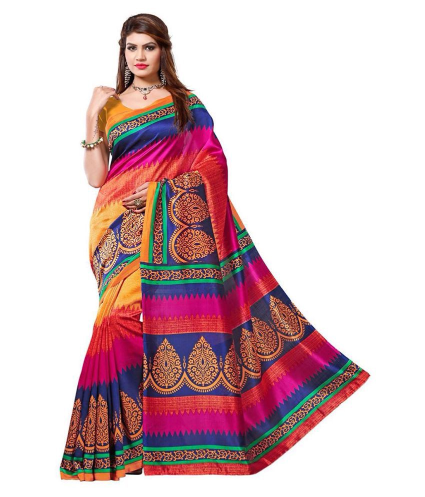 Skyzone Group Multicoloured Bhagalpuri Cotton Saree