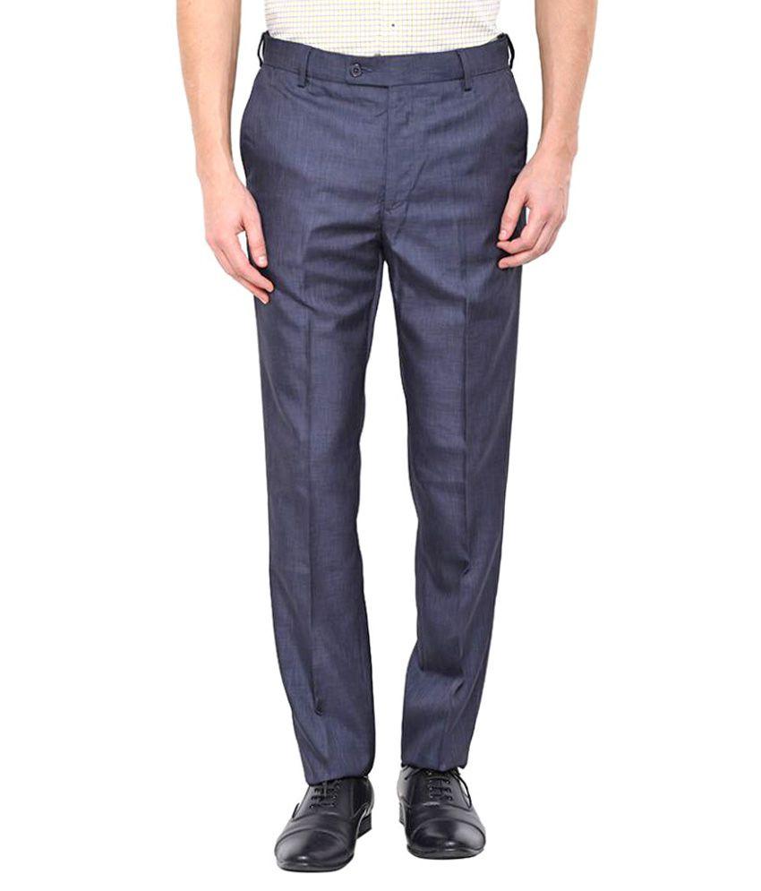 Arrow Dark Blue Slim Flat Trousers