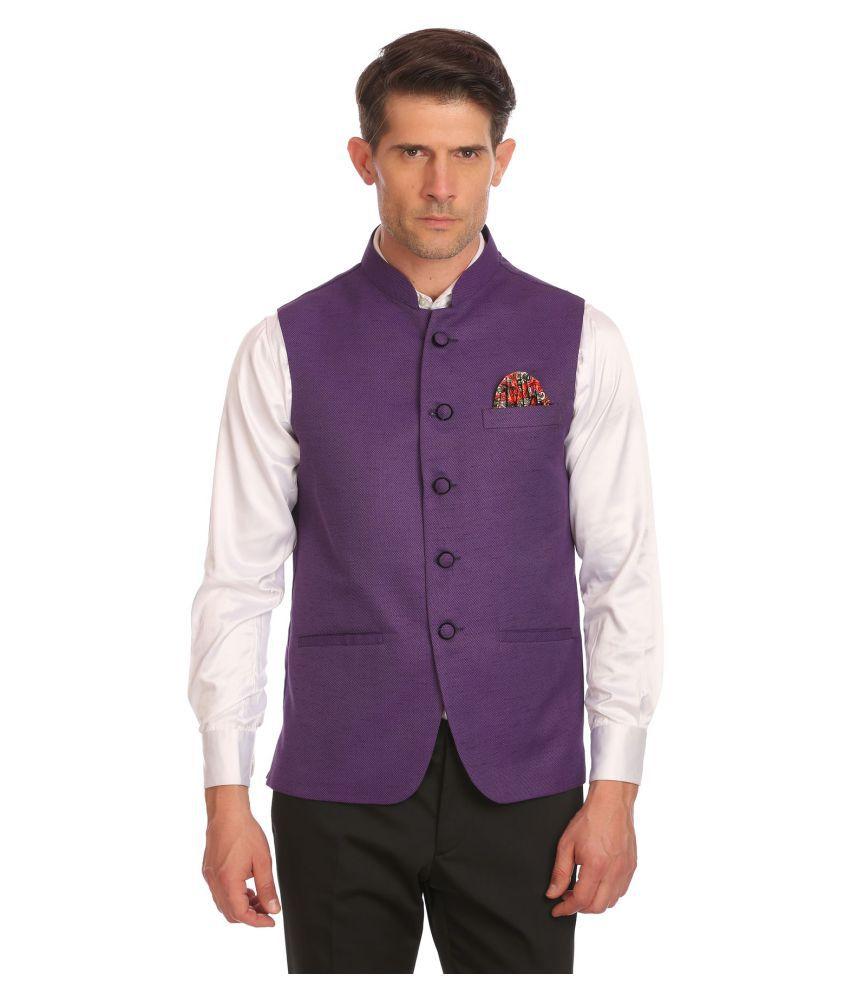 Wintage Purple Solid Festive Waistcoats