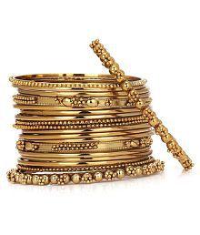 Zeneme Traditional Golden Wedding Bangles for Women