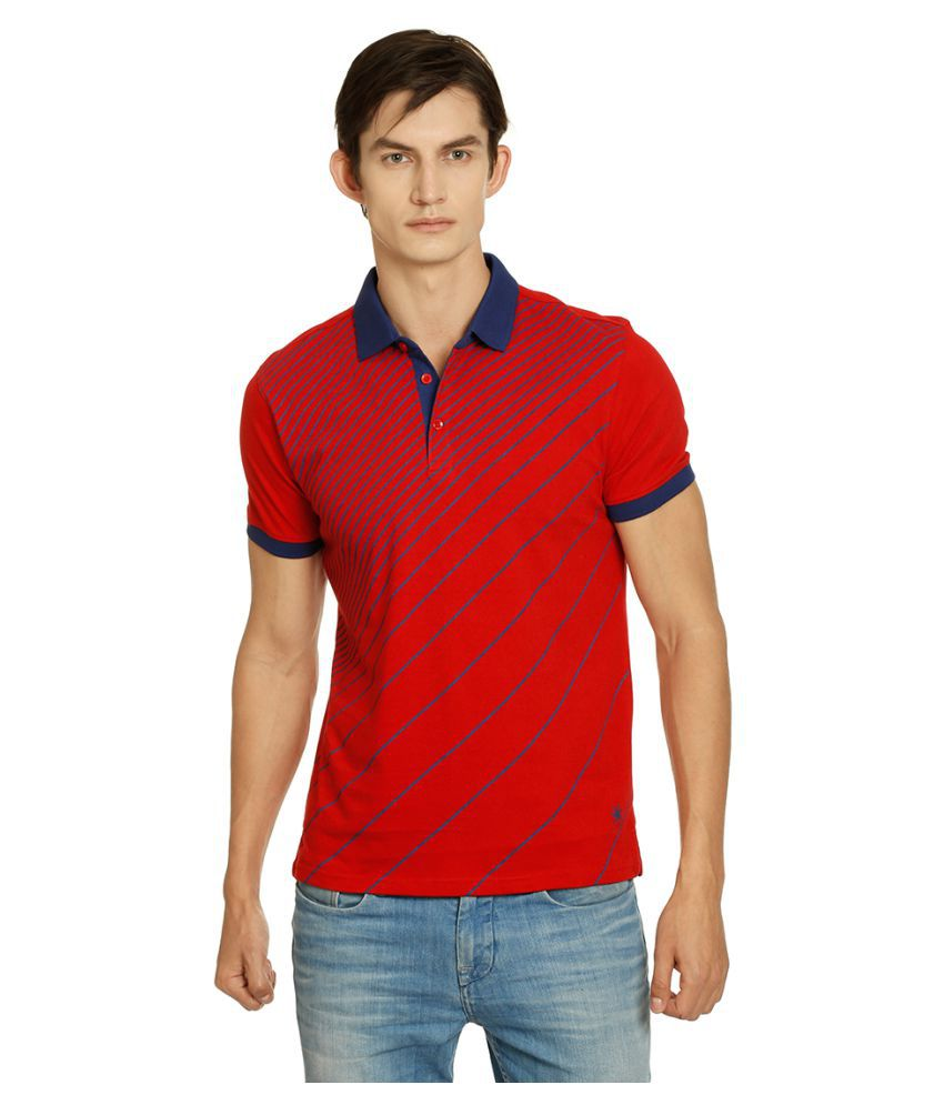 Zeven Red Cotton Polo T-Shirt Single Pack