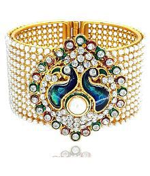 ZenemeTraditional Style Gold Plated Pearl Studded Bracelet Jewellery for Women and Girls
