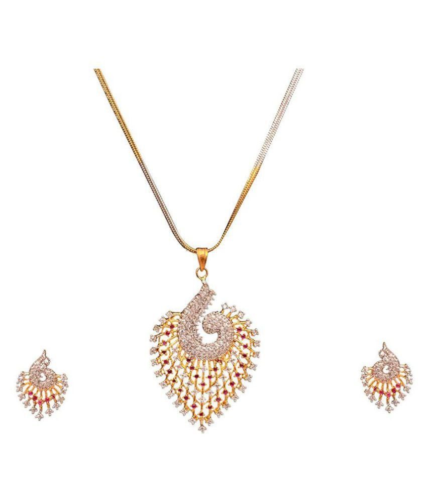 Sitashi Golden Peacock Design Pendant Set