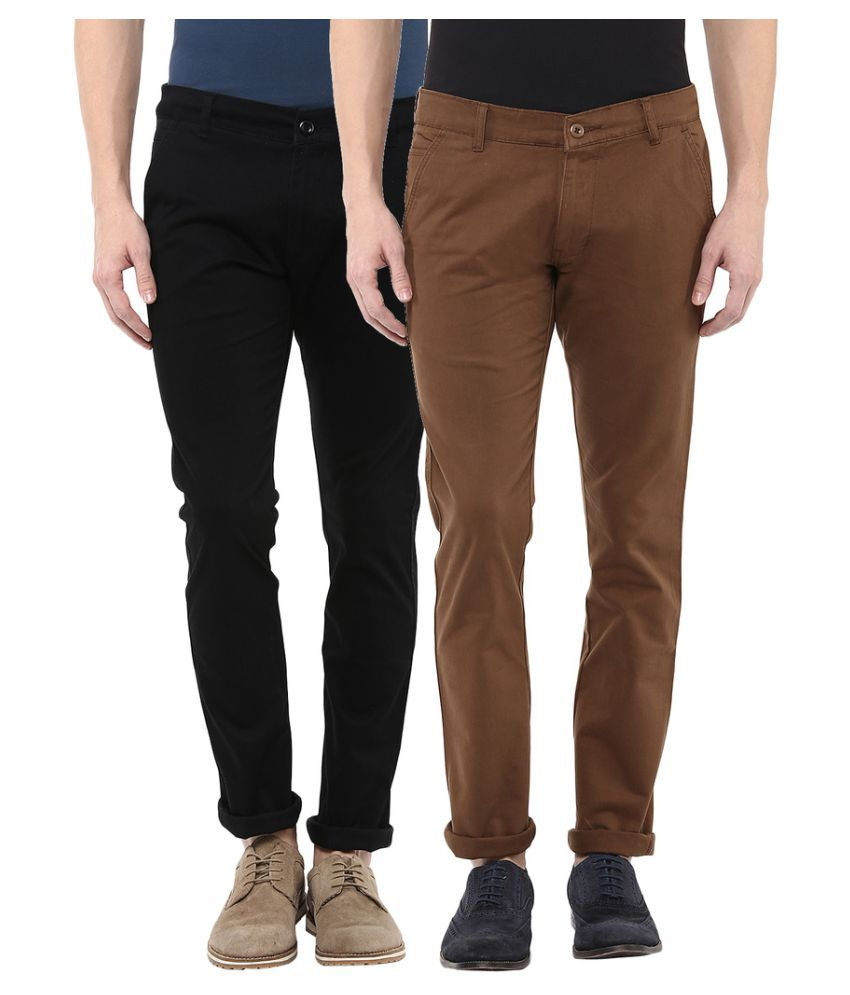 Bukkl Multicolored Slim Flat Chinos