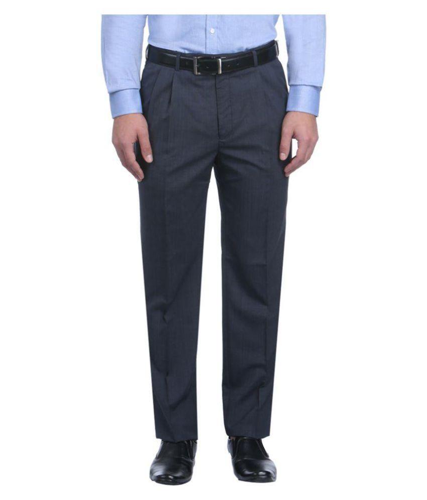 Park Avenue Blue Regular Flat Trousers