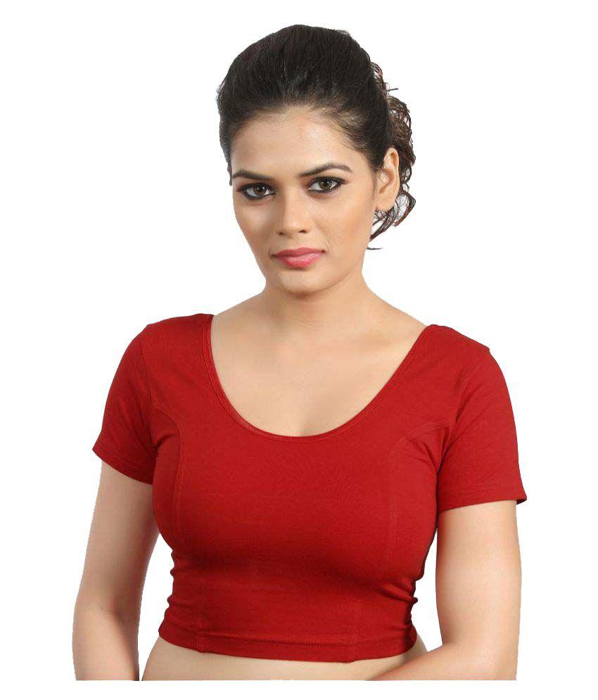 Atulya Designer Blouse Red Round Shape Back Blouse
