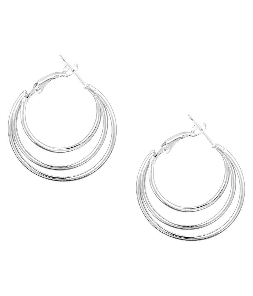 Shining Jewel Silver Hoop Earrings